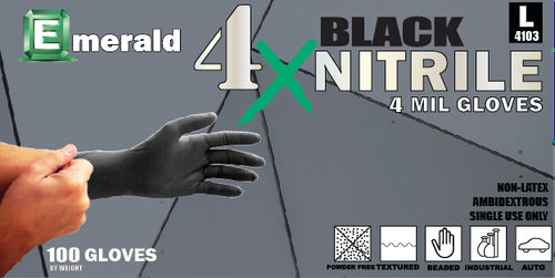 Emerald 4X Black Nitrile Powder Free GP 4 Mil (CS/1000)