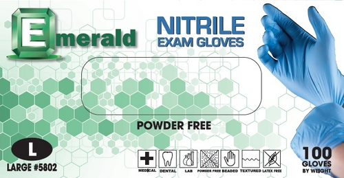Emerald Exam Nitrile Powder-Free 3 Mil (CS/1000)