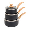 Scandi Smartstone Non Stick Saucepan Set with Glass Lids, 16/18/20 cm