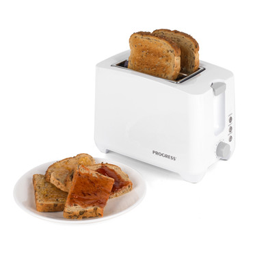 Two Slice Toaster with Slide-Out Crumb Tray, White