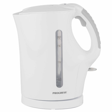 1.7 L Plastic Kettle with Soft Grip Handle, White