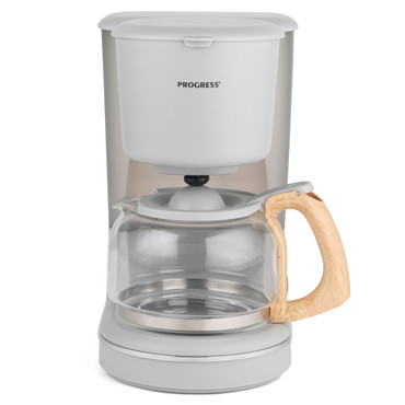 Scandi Coffee Maker with Wood Effect Finish, 1.25 L, Grey