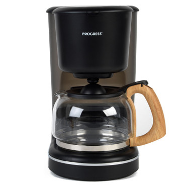 Scandi Coffee Maker with Wood Effect Finish, 1.25 L, Black