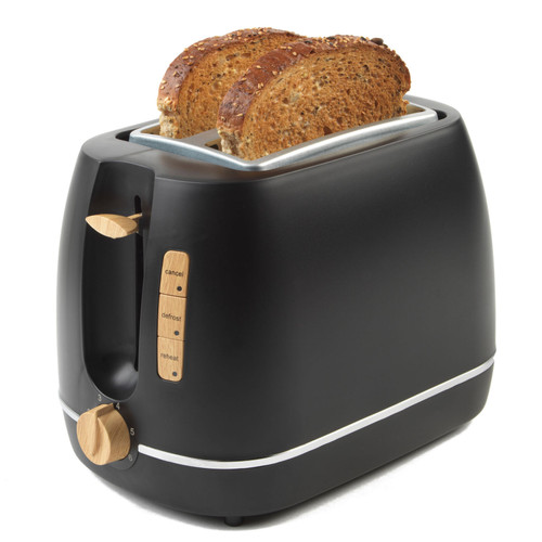 Scandi 2-Slice Toaster with Warming Rack, Black