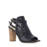 KIMBERLY Perforated Stacked-Heel {Black}