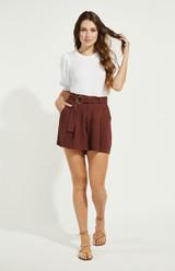 Alpha Linen Shorts {Mahogany}
