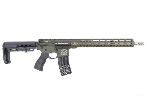 "'Chesty Series ' .223 Wylde 16"" Stainless Steel Match Grade Complete Rifle / 1:8 Twist / 15"" MLOK / OD Green"