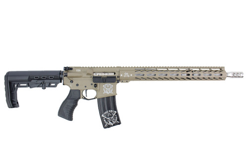"'Patton Series' .223 Wylde 16"" Stainless Steel Match Grade Complete Rifle / 1:8 Twist / 15"" MLOK / Double Bar / FDE"