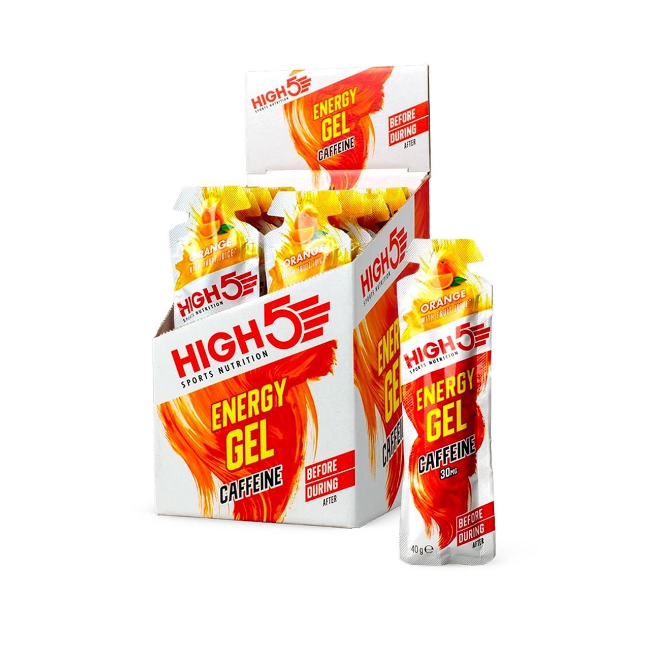 High5 Energy Gel Caffeine, 20 Pack (Orange)