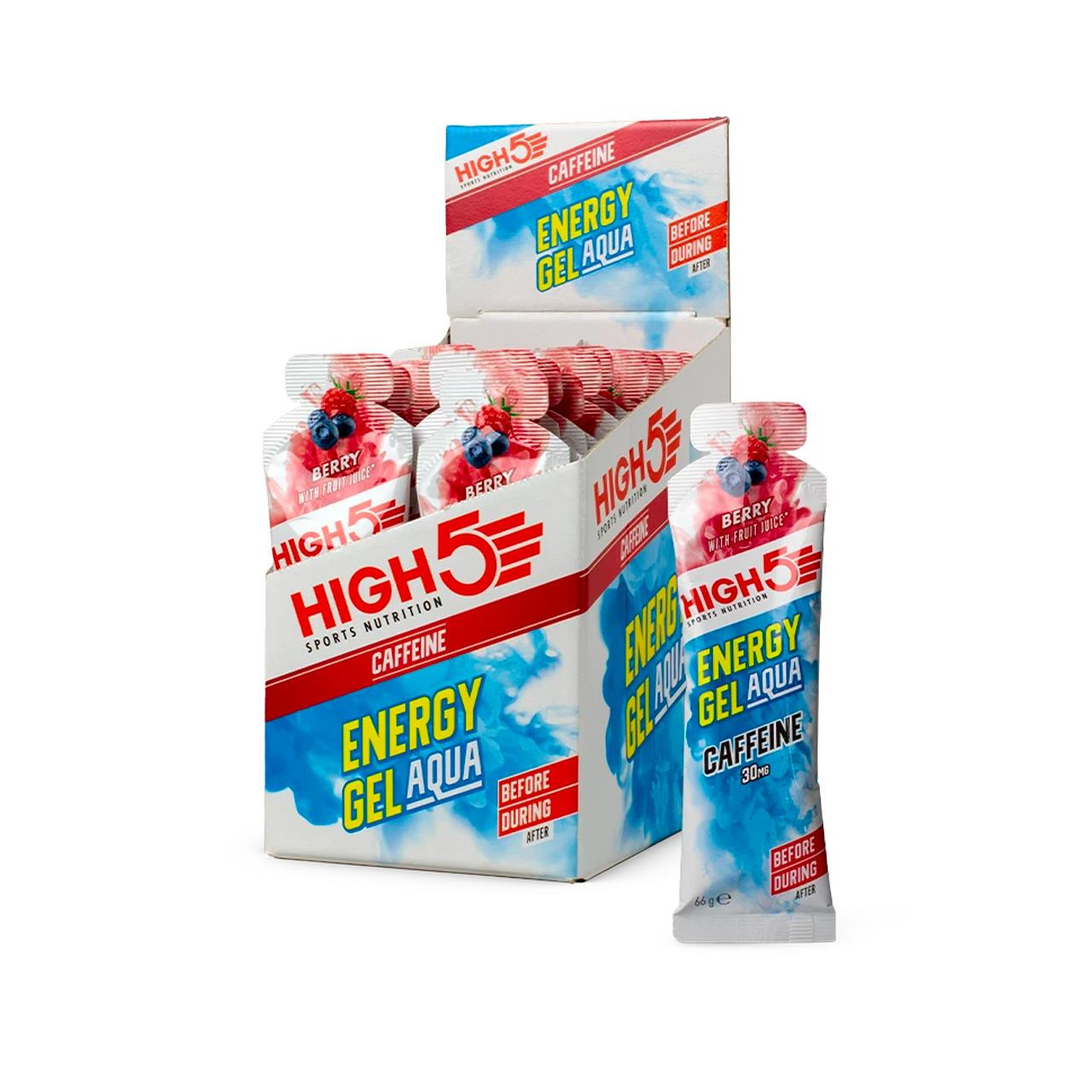 High 5 Energy Gell Aqua+Caffeine, 20 Pack (Berry)