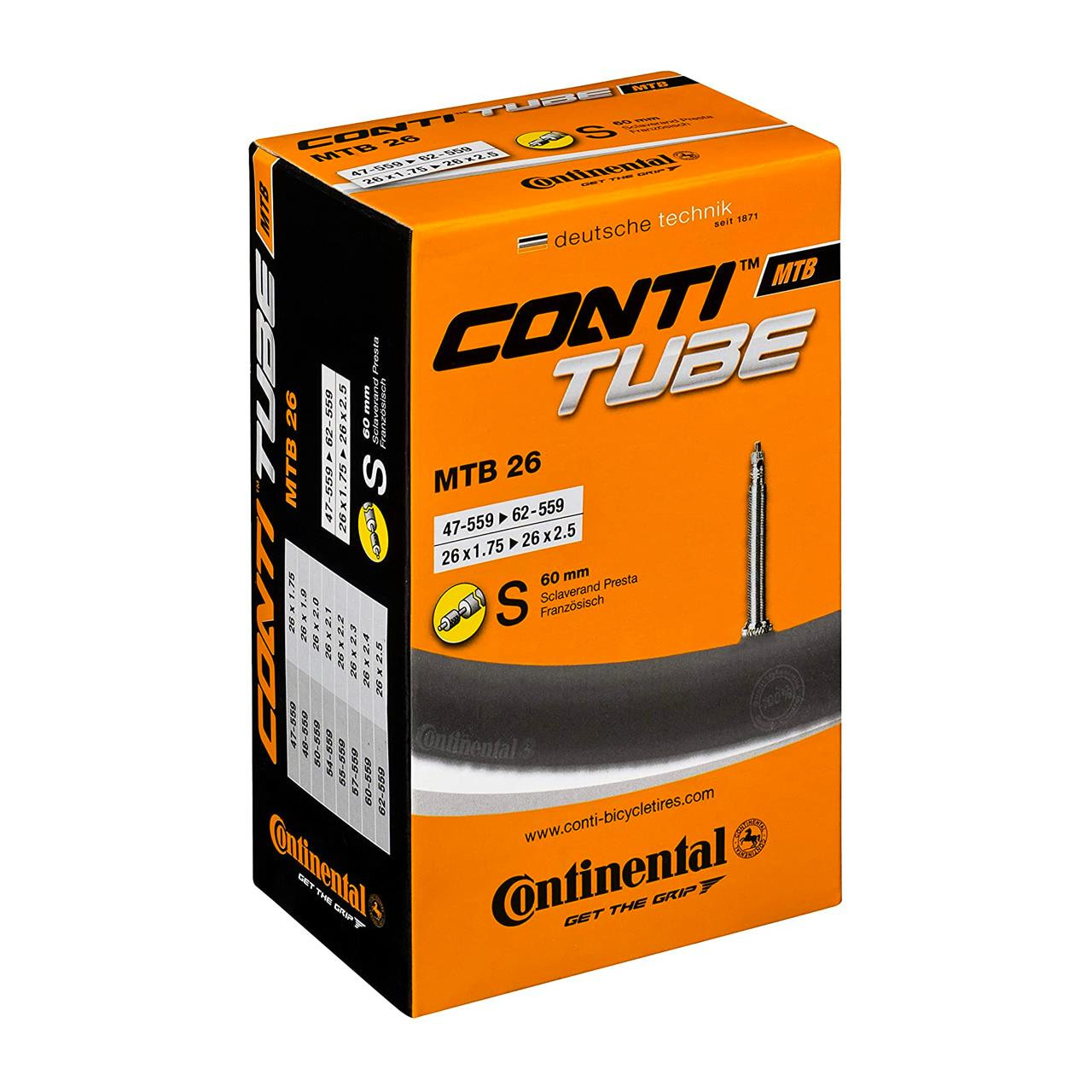 Continental MTB Inner Tube (Presta, 26 x 1.75 - 2.5 inch)