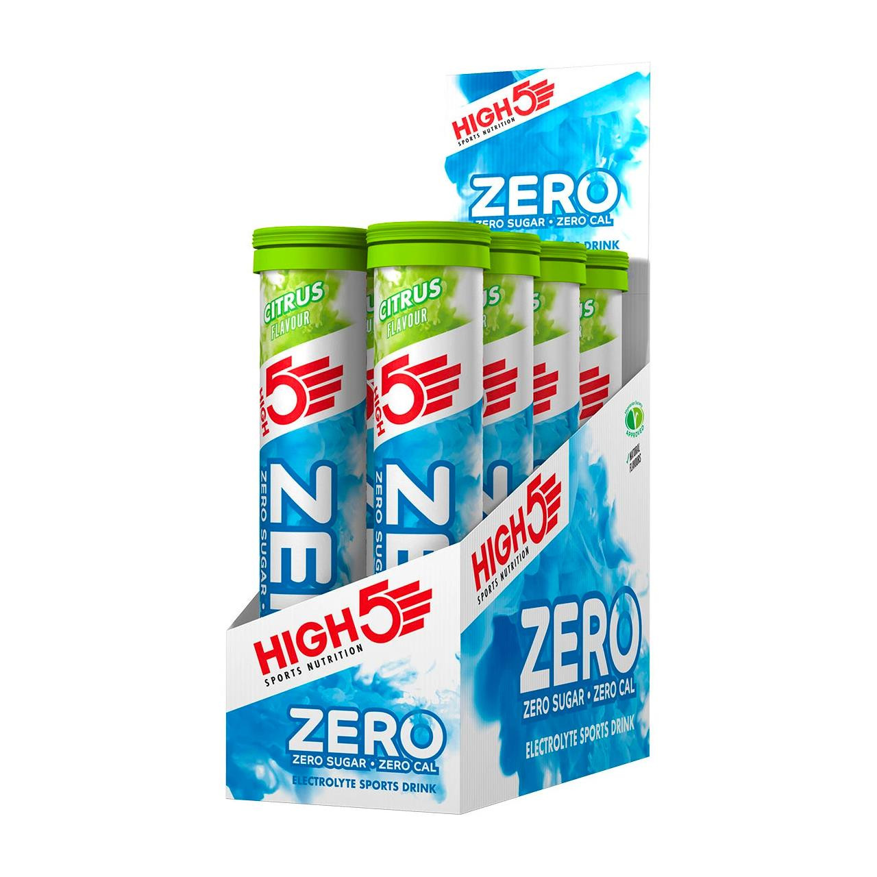 HIGH5 Zero Electrolyte Hydration Tablets, 8 Tubes (Citrus)