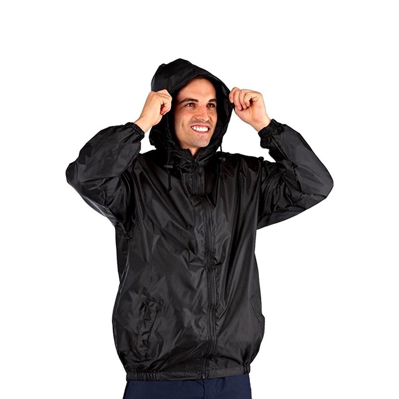 ProClimate Mens Pack-A-Kag Festival Coat (Black, Small)