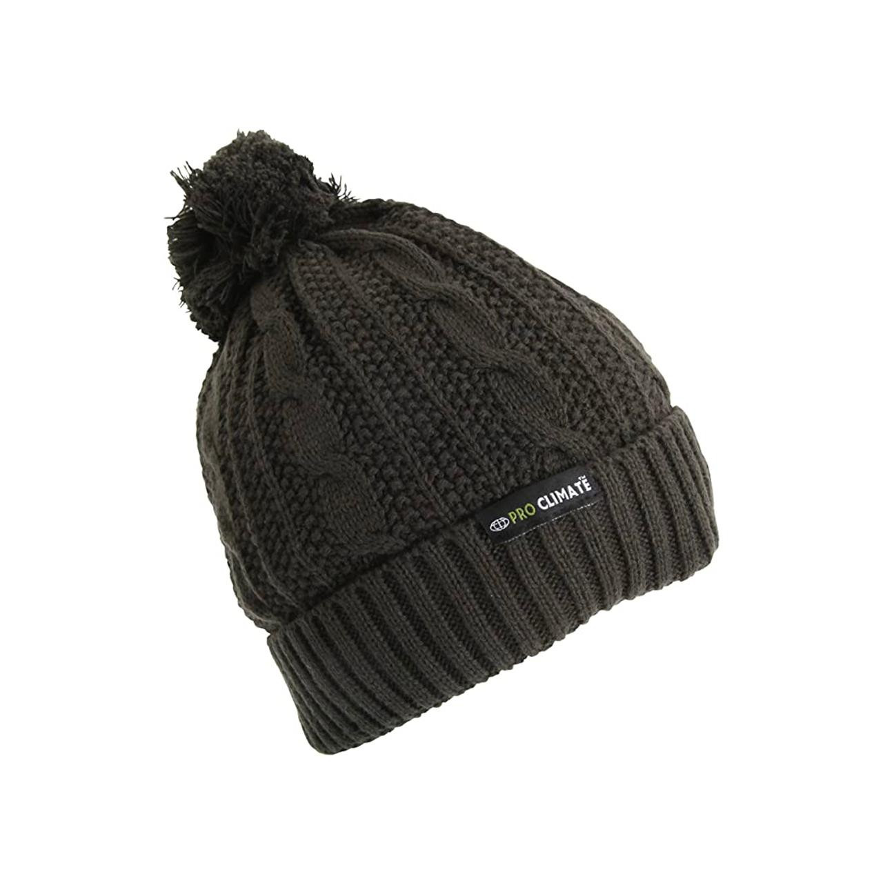 Pro Climate Waterproof Thinsulate Chunky Knit Bobble Hat (Olive)