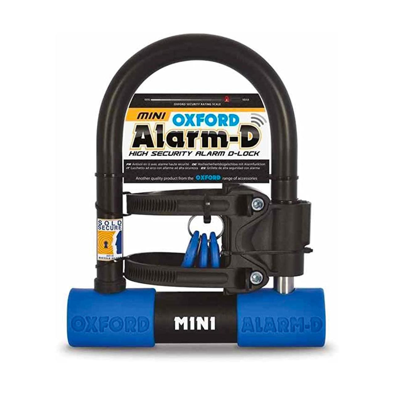 Oxford D Mini Alarmed Shackle (Black/Blue)