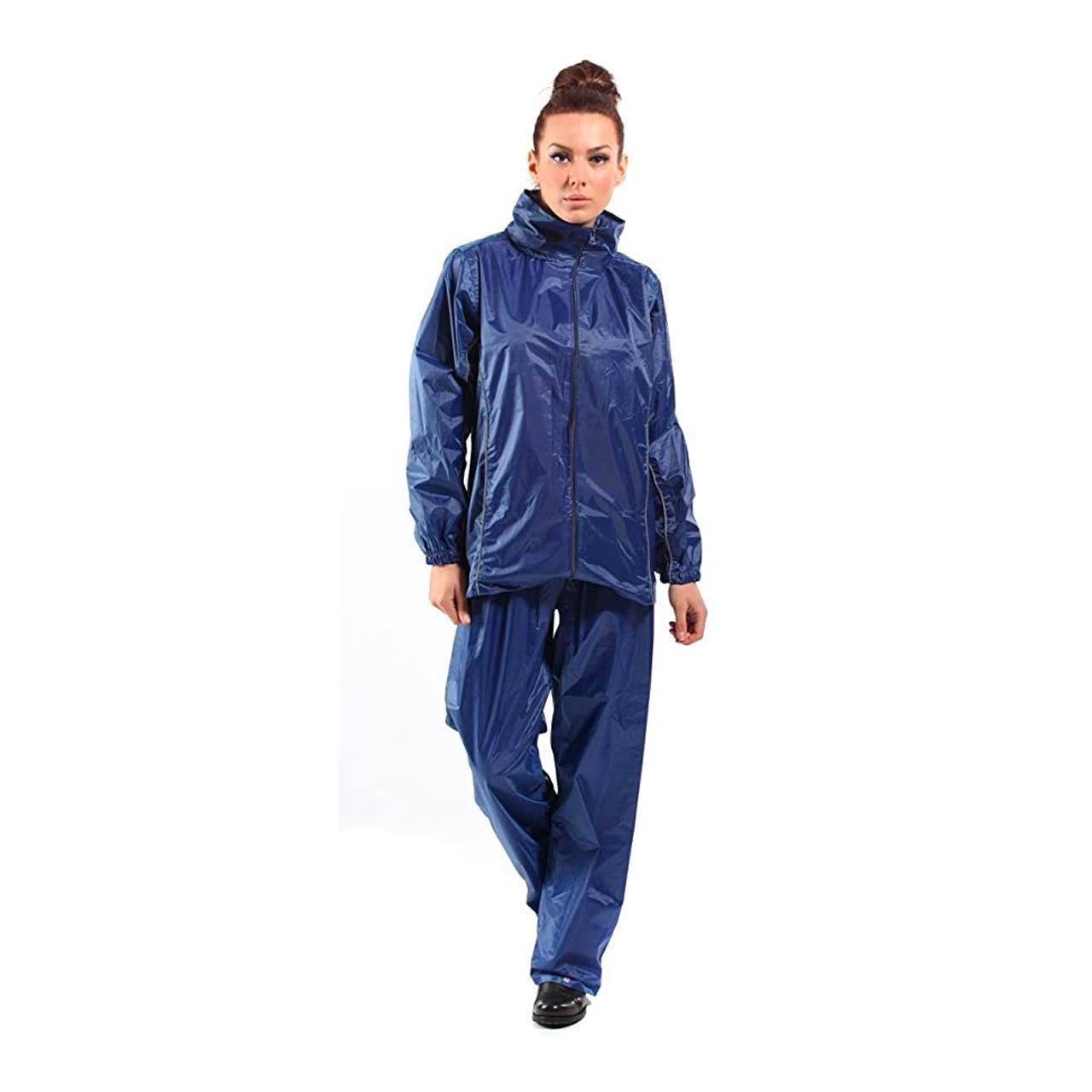 Ladies Light Waterproof Outdoors Coat & Trouser Suit (Navy, Large)