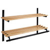 Unlimited Wooden Double Shelf Wall Coat Rack 105 Series - Image Illustrates Design, Not to Scale