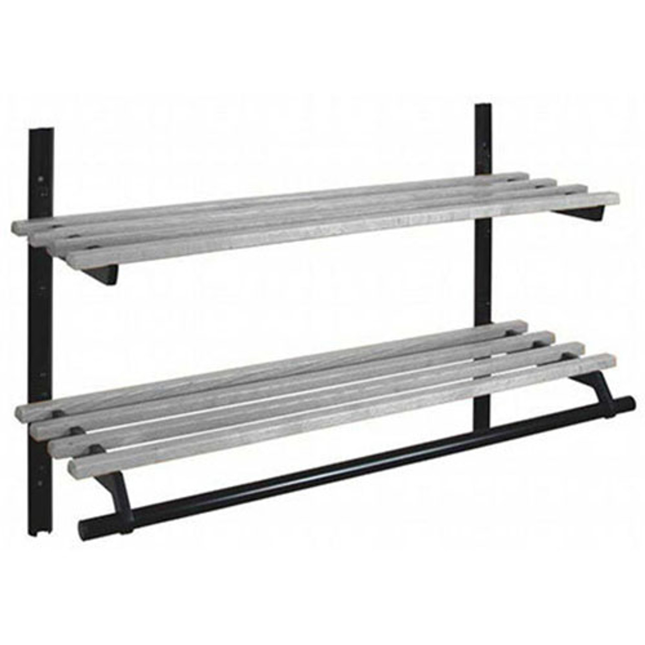 Unlimited Double Shelf Wall Coat Rack with Hanger Rod 104 Series - Image Illustrates Design, Not to Scale