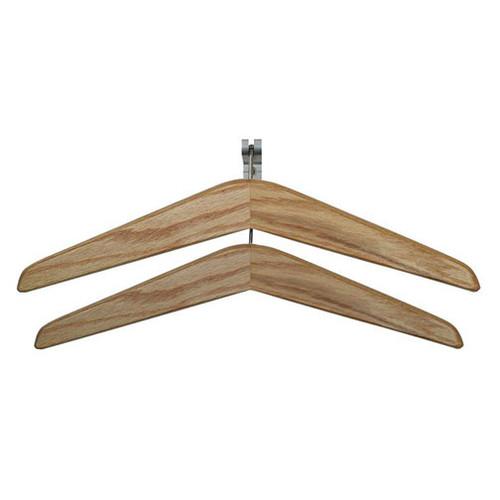 Heavy Duty Double Prong Coat Hook with Wood Hangers - 133-200 - Finished in Light Oak
