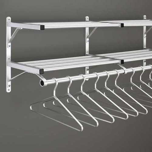 Modular Wall Double Shelf Coat Rack with Hanger Rod - 202 Series - Image Illustrates Design, Not to Scale - Hangers Sold Separately