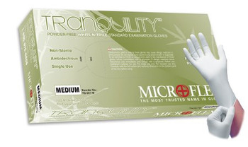 Tranquility Powder-Free White Nitrile Exam Gloves, Soft - 100 Count
