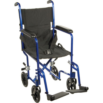 "Drive Medical Lightweight Transport Wheelchair, 19"" Seat, Blue"