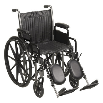 "Drive Medical Silver Sport 2 Wheelchair, Detachable Full Arms, Swing Away Footrests, 18"" Seat"