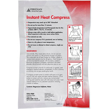 Veridian Healthcare Instant Heat Compress, 6-Inch x 9-Inch