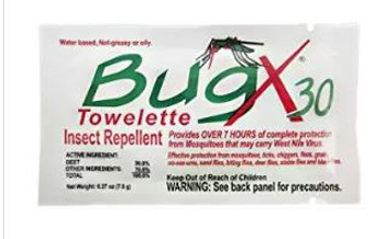 BugX 30 Insect Repellent Towelette 50/Box