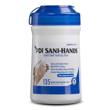 PDI Sani-Hands Hand Sanitizing Wipe Ethyl Alcohol Wipe Canister - 135 Count