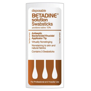 Betadine Antiseptic Solution Swab Stick 3's With 3 Swabs (50 Count)