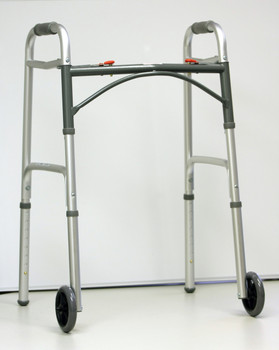"Drive Medical - Deluxe Two Button Folding Walker with 5"" Wheels"