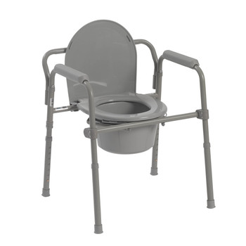 Drive Medical Folding Deep Seat Bedside Steel Commode, Grey