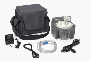 DeVilbiss Healthcare 7305 Series Homecare Suction Unit with External Filter, Battery, and Carrying Case