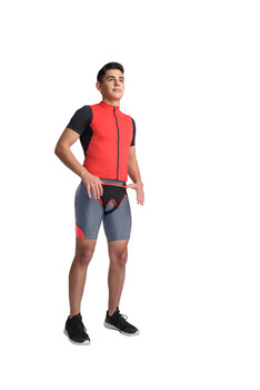 MAXAR Deluxe Hernia Support - Double Sided with Removable Inserts - Black w/Red Trim