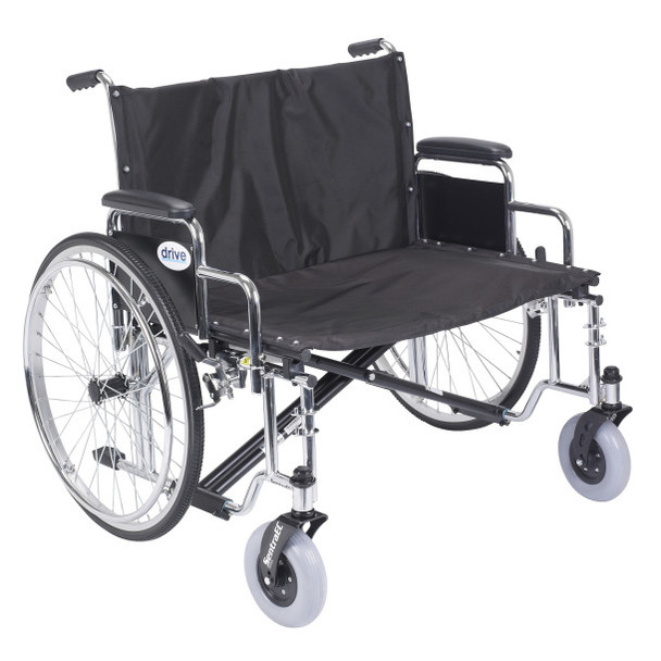 "Drive Medical Sentra EC Heavy Duty Extra Wide Wheelchair, Detachable Desk Arms, 30"" Seat"