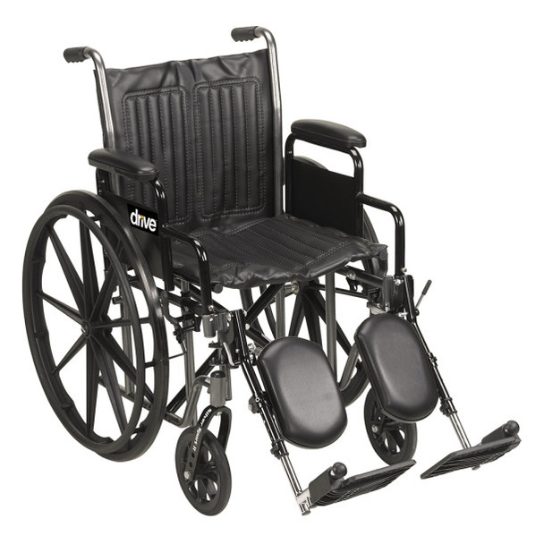 """Drive Medical Silver Sport 2 Wheelchair, Detachable Full Arms, Swing Away Footrests, 18"""" Seat"""