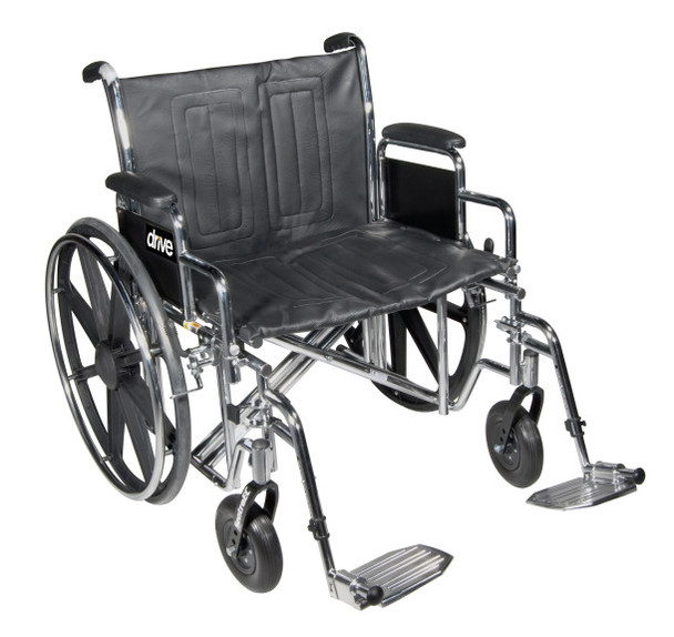 "Drive Sentra EC Heavy Duty Wheelchair, Detachable Desk Arms, Elevating Leg Rests, 24"" Seat"