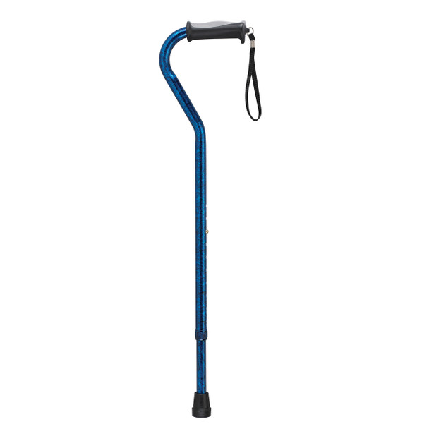 Adjustable Height Offset Handle Cane with Gel Hand Grip, Blue Crackle