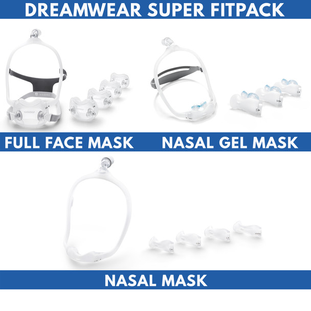 Philips Respironics Dreamwear Super Fitpack Kit  - Includes All Cushion Sizes, Headgear, Frames