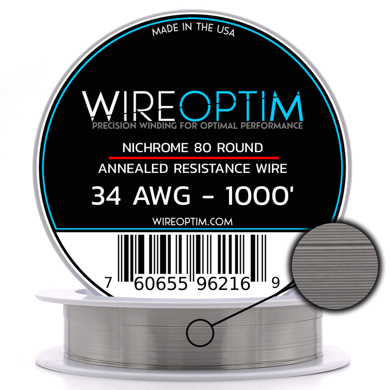 Ni80 wire 32 Gauge AWG Nichrome 80 Resistance Wire 1000' Length 1000ft