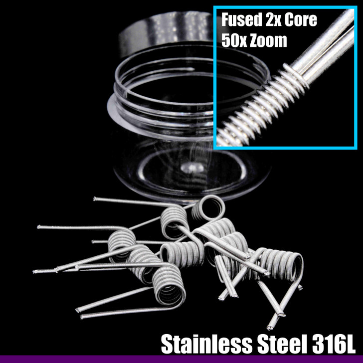 Clapton Wire Coils - Fused 2x Core SS 316L / 316L - 10 Pack