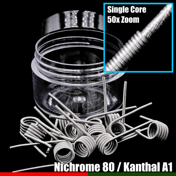 Clapton Wire Coils - Single Core N80 / KA1 - 10 Pack
