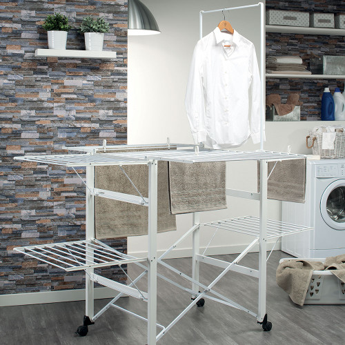 Aluminium / White Super Gulliver Clothes Airer by Foppapedretti