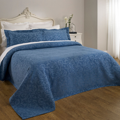 Clearance Queen Blue Rochelle Bedspread by Baksana
