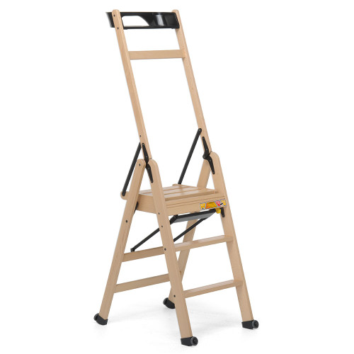 Lascala 3 Step Wood Ladder Natural by Foppapedretti