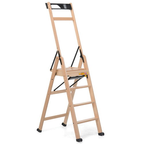 Lascala 4 Step Wood Ladder Natural by Foppapedretti