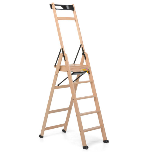 Lascala 5 Step Wood Ladder Natural by Foppapedretti