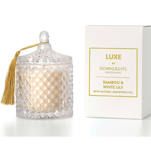 Bamboo and White Lily Luxe Candle by Downlights