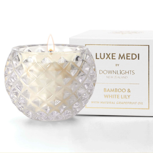 Bamboo and White Lily Luxe Medi Candle by Downlights
